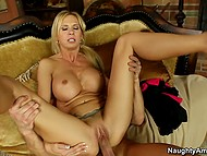 Chesty cougar is alone at home with stepson's skillful friend who nails her wet peach 4