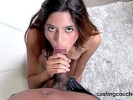Modest Latina newbie gets on knees and carefully sucks every inch of black tool