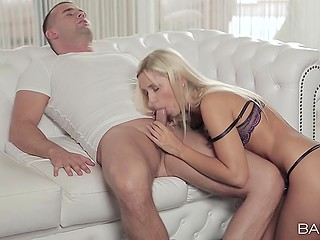 Stud arrives at girlfriend's place and their passionate lovemaking starts in kitchen