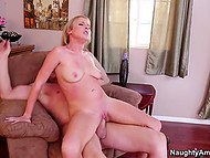 Young woman meets with stepson's buddy in the bedroom to be drilled keeping that secret from his friend