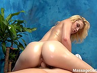 Light-haired masseuse rides client's cock with smooth pussy as a special bonus in HD porn video 9