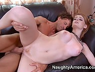 Pale girl rides fucker's strong cock and they practice spoons sex position on the couch