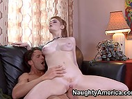 Pale girl rides fucker's strong cock and they practice spoons sex position on the couch 4