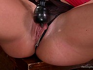 Bar is closed and excited waitress can finally have fun with big vibrator and fucking machine 5