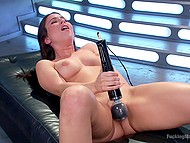 Sexually aroused young woman has nothing against masturbating with Hitachi-vibrator