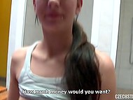 Girl has a boyfriend but it doesn't prevent her from showing tits for money and ride cock in locker room 10