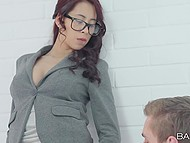 Chimney sweep finds panties of young Asian business lady in the fireplace and oral foreplay begins 4