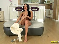 Luxurious brunette Anissa Kate undresses and is willing to toy her trimmed peach 4
