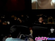 Skinny girl sees man won't deny fucking and brazenly makes pass at him right in cinema 7