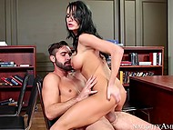 Stud catches teacher Alektra Blue masturbating and hot brunette decides to take his cock in vagina
