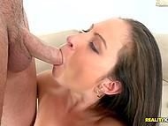 Handsome guy tears woman's bodystocking and fucks her from behind after receives blowjob 7