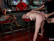 Blonde babe allows man to do her in public place while all the visitors are watching 8