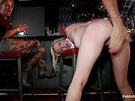 Blonde babe allows man to do her in public place while all the visitors are watching 9