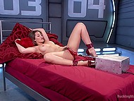 Enticing hottie plays solo with vibrator to prepare trimmed pussy for fucking machine 11