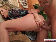 Female with straightened hair Julia Ann made the choice to suck dick and be bonked by younger man