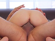 Love with black hair moans and receives pecker in pussy like a full-blown whore at casting 9