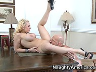 Slut takes subordinate to office to give him blowjob have a rough coition on wooden table 10