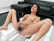 Love stimulates pussy with a Hitachi-vibrator and it means she won't deny sex with fucking-machine