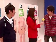 Japanese sex show where male participants have to guess girl looking at tits and licking them 5
