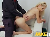 Blonde girl from Hungary finds out that she is at porn casting and tries to pass it instead of leaving