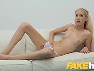 Blonde girl from Hungary finds out that she is at porn casting and tries to pass it instead of leaving 6