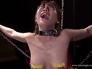Chained Japanese girl realizes that electricity is a painful thing when it injures her body 11