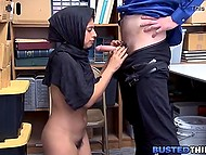 Arab girl with natural breasts avoids punishment for stealing spreading legs for security officer