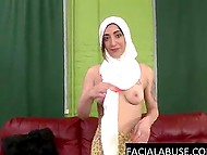 Pretty Arab girl takes part in a porn scene without knowing that cock will nail her throat so deep and guy put her head in a noose 6