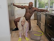 Shameless Ebony bull pulls cock out of pants and fucks platinum blonde maid Elsa Jean