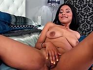 Spicy black female enjoys tongue of young man licking wet vagina after masturbation
