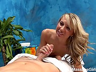 Charming masseuse makes a pleasant surprise for client sucking and riding his cock 8