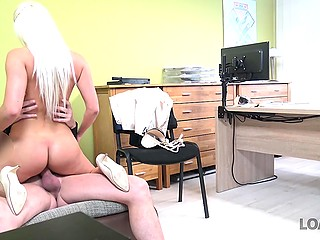 Bank employee offers busty Czech blonde to obtain a loan faster if she will have sex with him