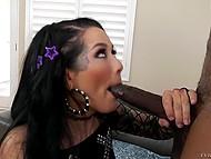 Black stallion anally impales on sofa slutty brunette with natural breasts Katrina Jade 5