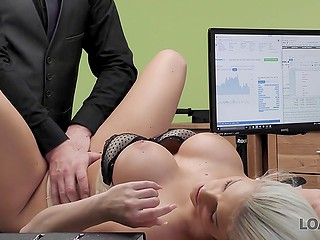 Need of quick investments force stunning blonde Blanche Bradburry to have fun with loan shark
