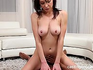 Fucking from behind and big black cock riding are two positions that chick will do at casting 11
