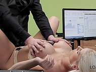 Platinum blonde Czech girl with big ass and breasts discovers that sex with bank employee helps receive loan really quickly 7