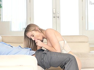 Excited beauty lies on the couch and masturbates pussy with dildo when husband suddenly comes home