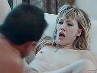 Shocked girl watches skinny friend with tiny tits practices sex with bearded stepdad 5