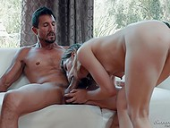 Shocked girl watches skinny friend with tiny tits practices sex with bearded stepdad 9
