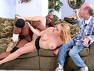 Sexy bitch Krissy Lynn shows disrespect to old husband having interracial sex next to him