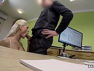 Platinum blonde beauty from Czech agrees to give bank employee blowjob to receive a loan faster