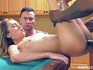 Shocked dude watches how tall Ebony man nails petite Latina GF Raquel Diamond on pool table 4