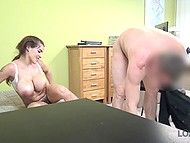 Czech girl with gigantic tits tries to receive a loan and bank employee wants to fuck hairy cunt in return 10