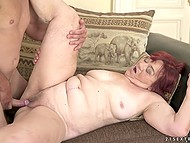 Young guy makes old redhead happy fucking hairy pussy and cumming on her face