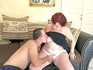 Young guy makes old redhead happy fucking hairy pussy and cumming on her face 4