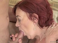 Young guy makes old redhead happy fucking hairy pussy and cumming on her face 5