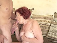 Young guy makes old redhead happy fucking hairy pussy and cumming on her face 7