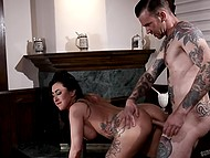 Guy fucks hairy pussy of busty brunette with tattoos really well nevertheless she wants anal