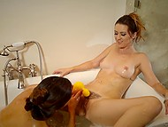 Lesbian sex in bathtub is how MILF punishes naughty stepdaughter for skipping lessons 5