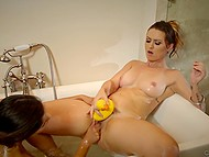 Lesbian sex in bathtub is how MILF punishes naughty stepdaughter for skipping lessons 6